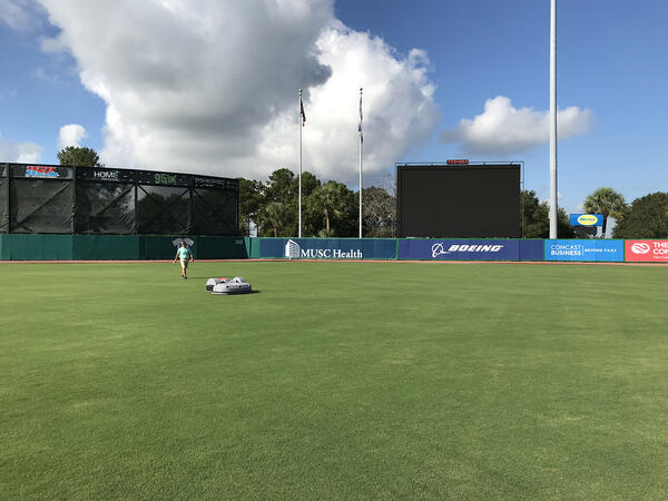 The Echo TM-2000 at Charleston River Dogs Stadium mowing the outfield