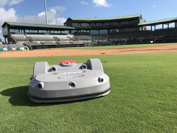 The Echo TM-2000 at Charleston River Dogs Stadium with the infield behind it