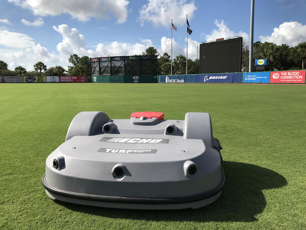 The Echo TM-2000 at Charleston River Dogs Stadium with the outfield behind it